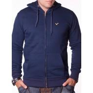 Мъжки суичър Jeans CO тъмносин с цип и качулк