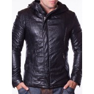 Мъжко кожено яке Jeans черно с качулка