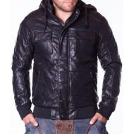 Мъжко зимно кожено яке Garment черно